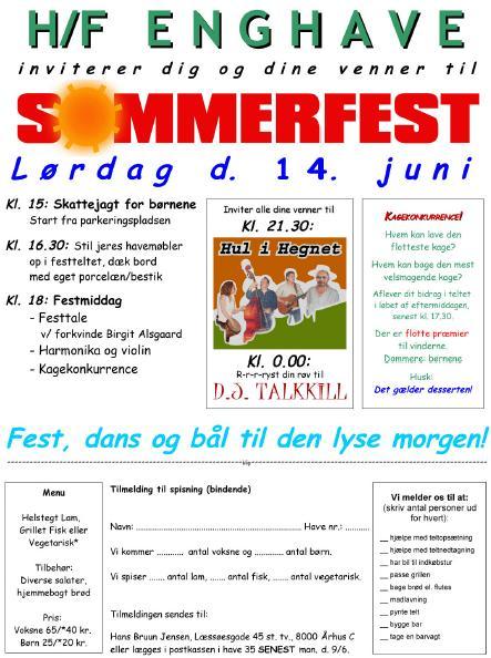Indbydelse til Sommerfest